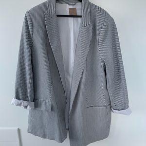 H&M Pinstripe Linen Blazer
